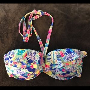 Victoria's Secret blue flowery bikini top 36 DD